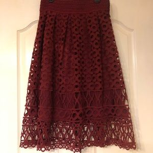 NWT Romeo & Juliet Couture burgundy lace skirt!